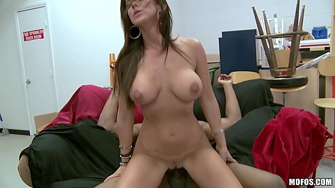 Reverse cowgirl busty milf sitting on cock