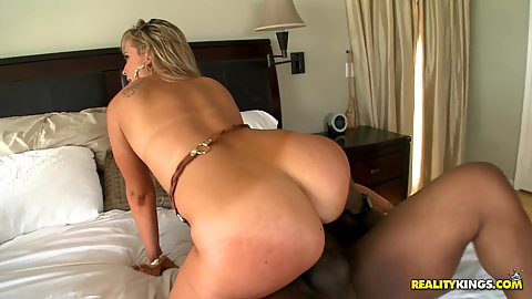 Briella with curvy ass sits on penis