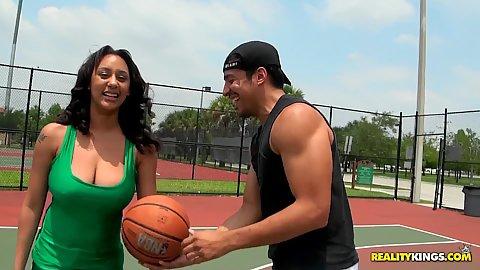 Hot big tits London outdoors in green shirt