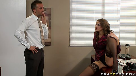 Naughty big tits boss Eve Laurence catches worker