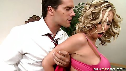 Katie a big tits blonde gets tits hard squeezed