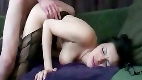 Doggy style fucking gf while she exposes tits