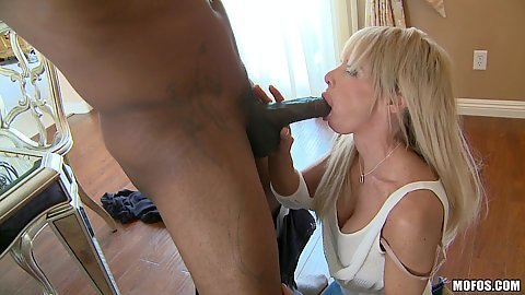 Milf sucking big black dick