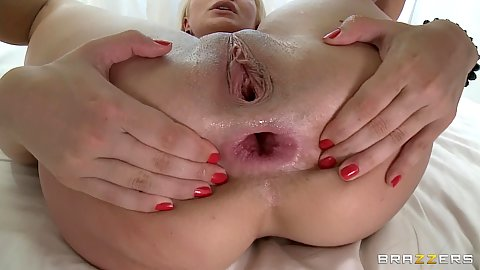 Lea spreads her gaping asshole and more anal
