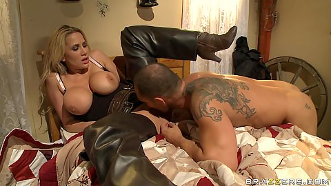 Alanah spreads her big tits pussy for cowboy