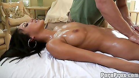 Baby oil shiny babe fucked with vibrator