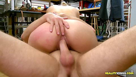 Big tits blonde milf fucked in a public store