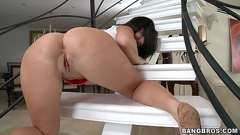 Great rear view ass on Jayden Jaymes on stairs