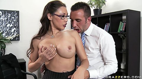 Big tits asian office slut Miko Lee go topless
