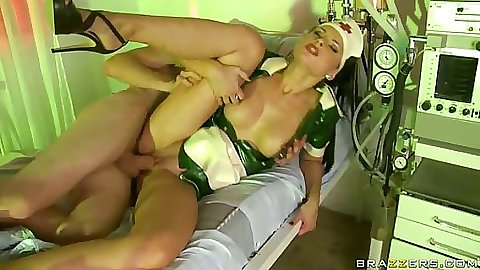 Patient nails the fuck out this nurses shaved pussy