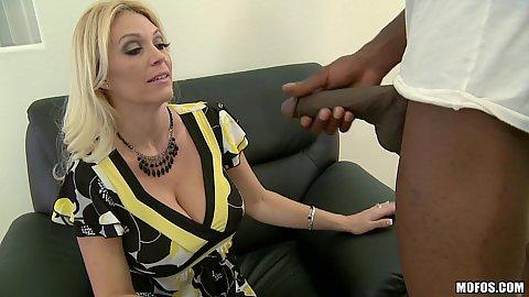 Big tits blonde mil sucking huge black cock