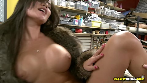 Naked busty babe in fur coat gets fingered