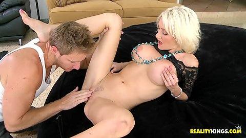 Hot blonde big tits Kinzie spreads vagina for licking