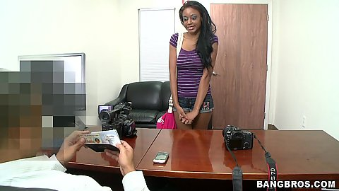 Hot black cutie Regina comes for an interview