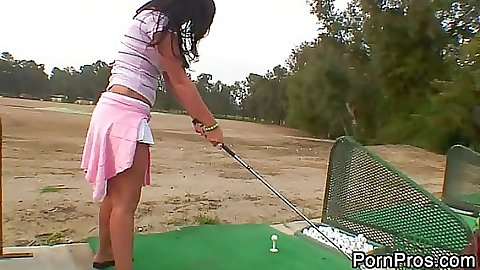 London Keys a sexy teen golfing with old fart