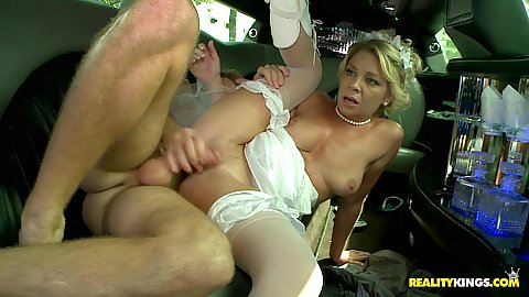 Bride gets fucked in their bridal limo