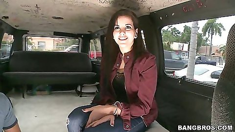 Hottie sits in the back of the bangbus
