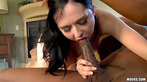 White milf sucking a huge black penis