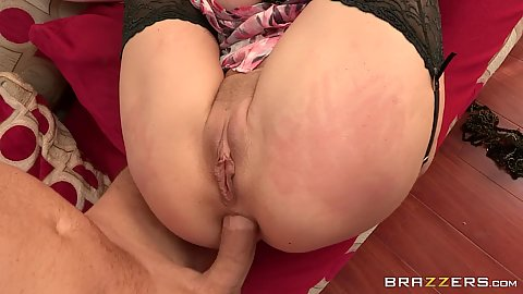 Deep anal fuck with legs behind head with ass slap