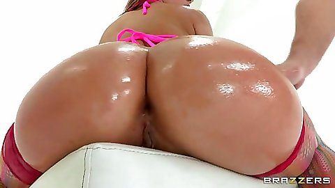 Kristina has her ass oiled up and deep throats cock