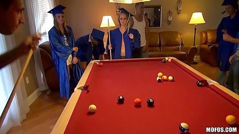 Slut party with topless babes playing some pool