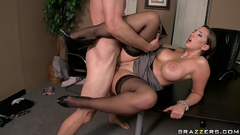 Office sex and ejaculation on big tits secretary Kelly