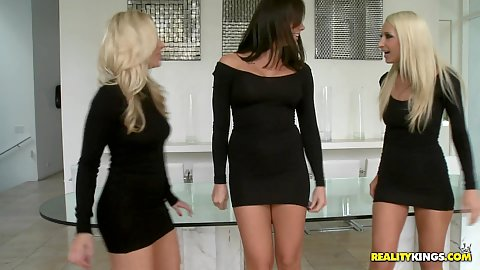 Sexy lesbian bitches in hot black dresses
