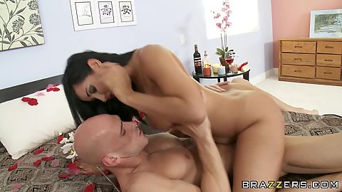 Milf with big tits climbs on cock with her shaved pussy