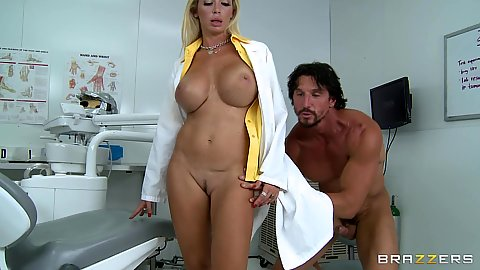 Big tits doctor fucked standing up in her office