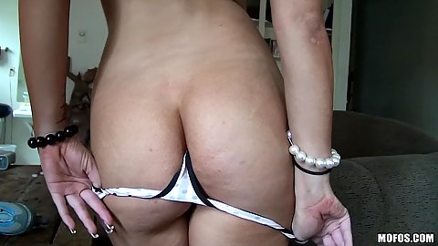 Close up reverse cowgirl with pov shot