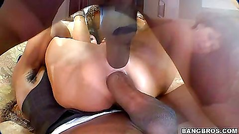 Double penetration with Eva Karera getting ripped up