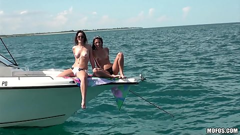 Hot teen babes on the boat fishing