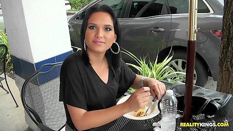 Sexy latina having lunch