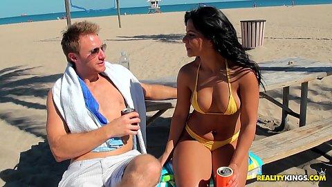 Hot big tits bikini milf Rose on the beach outdoors