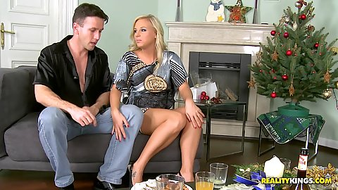 Euro sex party with not euro blonde in high heels