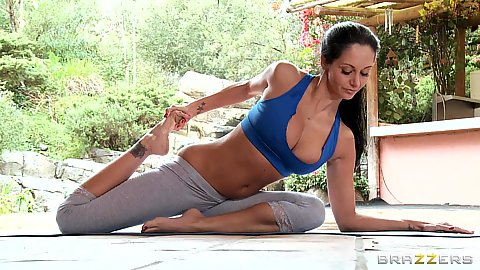 Big tits Ava Addams working out in tight clothes
