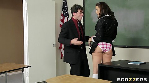 Big tits at school with Chanel convincing her teacher
