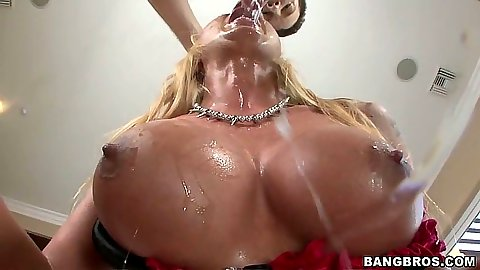 Firm big tits Leya Falcon sucking cock and sitting on dick