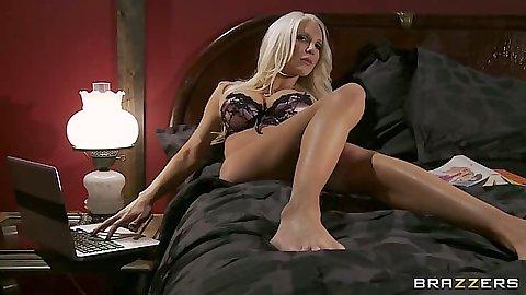 Blonde milf housewife wearing bra and panties Holly Price