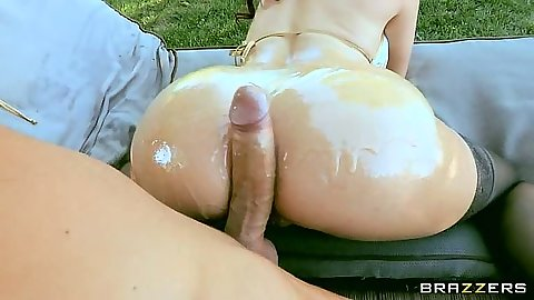 Tiffany Mynx bends over for some deep doggy style anal outdoors
