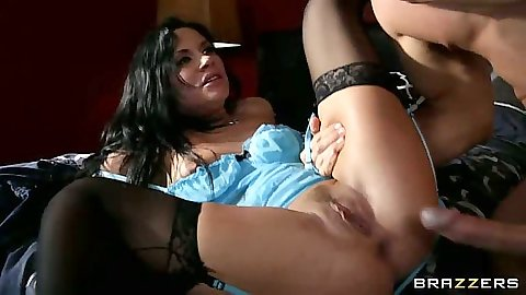 Andy San Dimas spreading her legs wearing a sexy blue lingerie