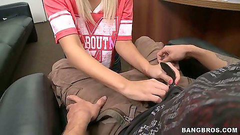 Blonde 18 year old young teen Tosh Locks reaches into guys pants for cock