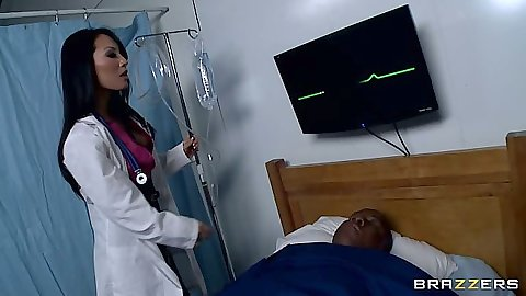 Asa Akira a beautiful asian doctor checks patient
