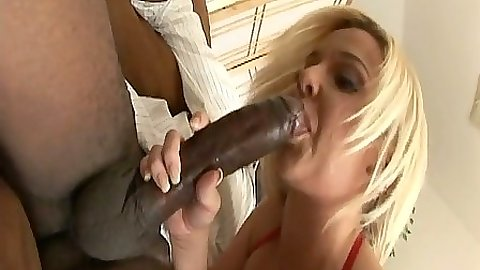 Blonde milf Riley Winter sucking huge black cock and cowgirl sits on cock