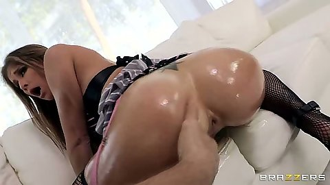 Oiling up Felony ass and pouring lube into her stretched anus