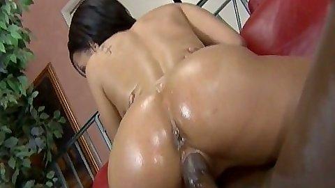 Ebony hottie Aliana Love cowgirl sitting on cock and doggy style