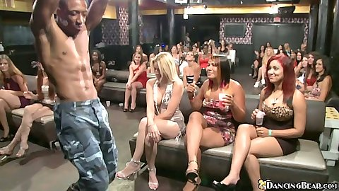 Babes get a hold and a suck of dancing bears stripping cock