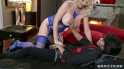 Blonde milf in lingerie Charlee Chase climbs on a dude and sucks him off