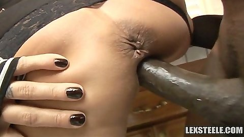 Close up of big black cock fucking Trina Michaels from behind