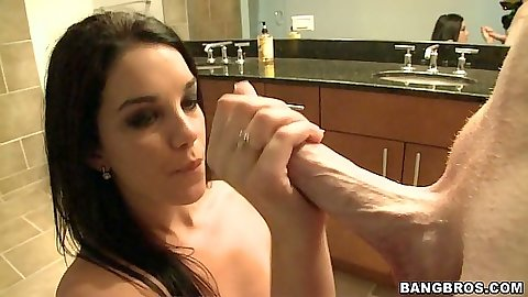 Blowjob in hot brunette Haley Hollister in the bathroom and doggy style
